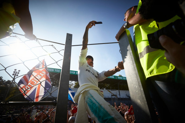 Autodromo Nazionale di Monza, Italy. Sunday 3 September 2017. Lewis Hamilton, Mercedes AMG, takes a photo with fans. World Copyright: Steve Etherington/LAT Images  ref: Digital Image SNE15610