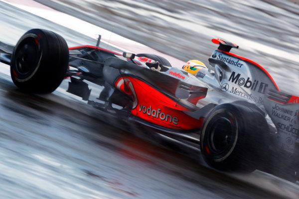 Silverstone, Northamptonshire, UK.6th July 2008.Lewis Hamilton, McLaren MP4-23 Mercedes, 1st position. Action. World Copyright: Andrew Ferraro/LAT Photographic.ref: Digital Image _H0Y3576