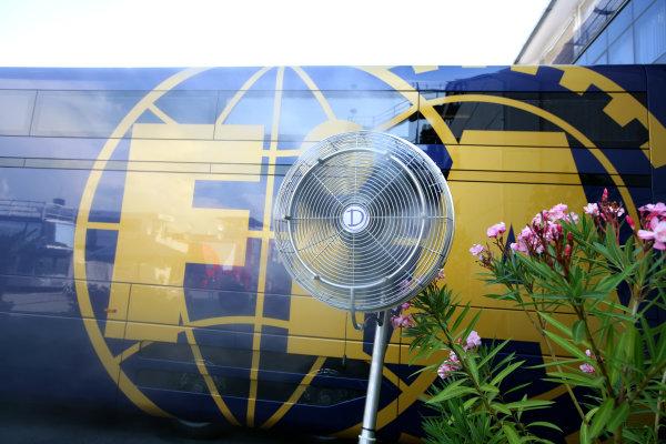 Hungaroring, Budapest, Hungary31st July 2008A fan provides some cooler air near the FIA trucks in the paddock. Atmosphere.World Copyright: Glenn Dunbar/LAT Photographicref: Digital Image YY8P7684