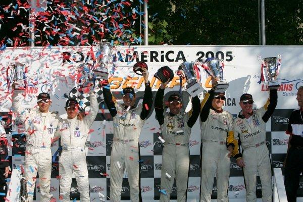 GT1 podium and results: 1st: Oliver Gavin (GBR) / Olivier Beretta (MON) Corvette Racing, centre. 2nd: Ron Fellows (CDN) / Johnny O'Connell (USA) Corvette Racing, right. 3rd: Andrea Bertolini (ITA) / Fabrizio de Simone (ITA) Maserati Corse, left. American Le Mans Series, Rd7, Road America, Elkhart Lake, USA, 19-21 August 2005. DIGITAL IMAGE
