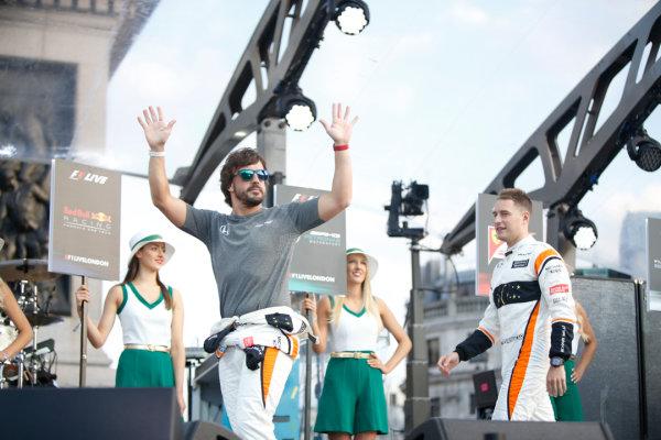 London, United Kingdom.  Wednesday 12 July 2017. Fernando Alonso, McLaren, and Stoffel Vandoorne, McLaren. World Copyright: Joe Portlock/LAT Images  ref: Digital Image _L5R8689