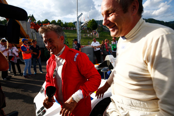 Red Bull Ring, Spielberg, Austria. Saturday 08 July 2017. Former Ferrari and Benetton team-mates Jean Alesi and Gerhard Berger reunite. World Copyright: Andy Hone/LAT Images ref: Digital Image _ONY1950