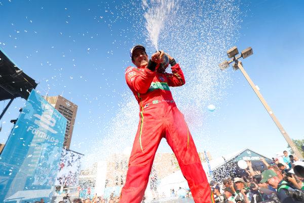 2016/2017 FIA Formula E Championship. Round 11 - Montreal ePrix, Canada Saturday 29 July 2017. Lucas Di Grassi (BRA), ABT Schaeffler Audi Sport, Spark-Abt Sportsline, ABT Schaeffler FE02, celebrates on the podium. Photo: Malcolm Griffiths/LAT/Formula E ref: Digital Image MALK5478