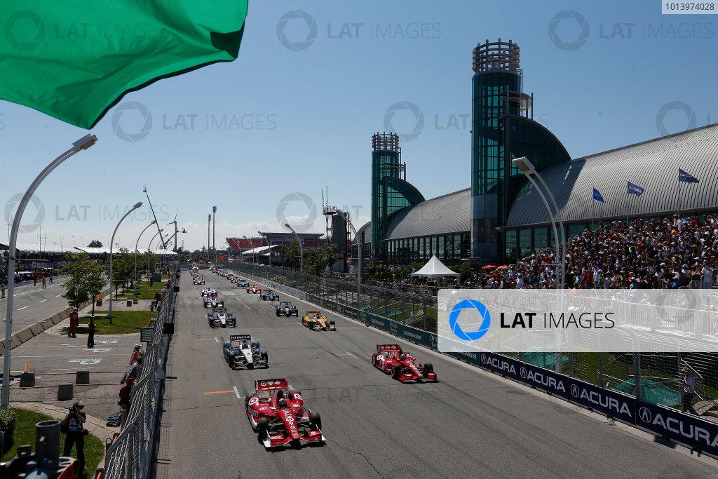 14 July, 2013, Toronto, Ontario, Canada Scott Dixon leads the field on the first IndyCar standing start © 2013, Michael L. Levitt LAT Photo USA.