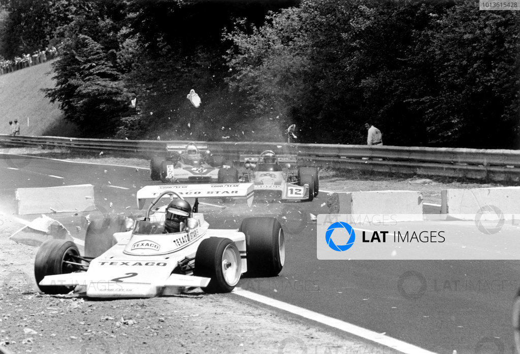 Rouen-les-Essarts, France. 24th June 1973 Rd 9. Ronnie Peterson (Texaco Star (Lotus 74) - Lotus Novamotor), retired, crashes through the polystyrene blocks at the chicane, action.  World Copyright: LAT Photographic. Ref: 5458 - 25-25A.