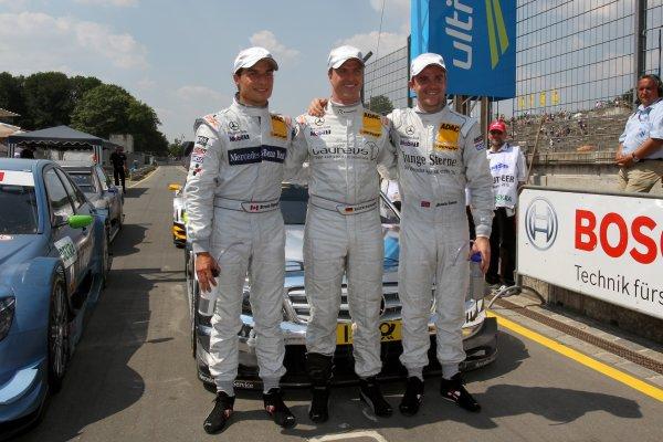 Top three qualifyers: Pole man Ralf Schumacher(GER), Laureus AMG Mercedes, centre; Bruno Spengler (CDN), Mercedes-Benz Bank AMG, left, (2nd); Jamie Green (GBR), Junge Sterne AMG Mercedes, right, (3rd).DTM, Rd4, Norisring, Nuremberg, Germany. 2-4 July 2010 World Copyright: LAT PhotographicRef: Digital Image dne1003jy88