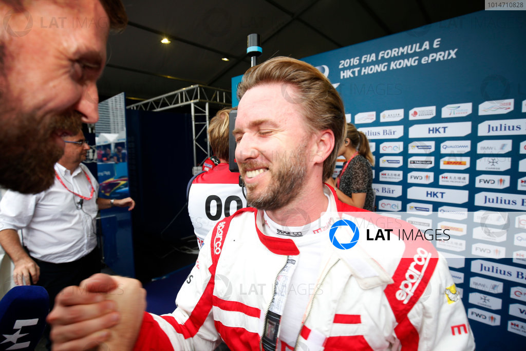 2016/2017 FIA Formula E Championship. Hong Kong ePrix, Hong Kong, China. Sunday 09 October 2016. Nick Heidfeld (23, Mahindra Racing) celebrates after the race. Photo: Adam Warner/LAT/Formula E ref: Digital Image _L5R8348