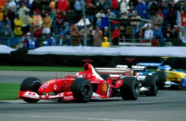 Michael Schumacher (GER) Ferrari F2003-GA took victory United States Grand Prix, Rd15, Indianapolis Motor Speedway, Indianapolis, USA. 28 September 2003.BEST IMAGE