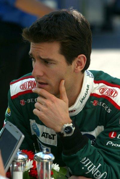 Mark Webber (AUS) Jaguar.Formula One World Championship, Rd1, Australian Grand Prix, Preparations, Albert Park, Melbourne, Australia, 6 March 2003.DIGITAL IMAGE