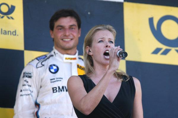 Round 8 - Oschersleben, Germany.14th - 16th September 2012.A singer sings the national anthem for Bruno Spengler (CAN) BMW Team Schnitzer BMW M3 DTM.World Copyright: Schaber / XPB Images / LAT Photographicref: Digital Image 2354911_HiRes