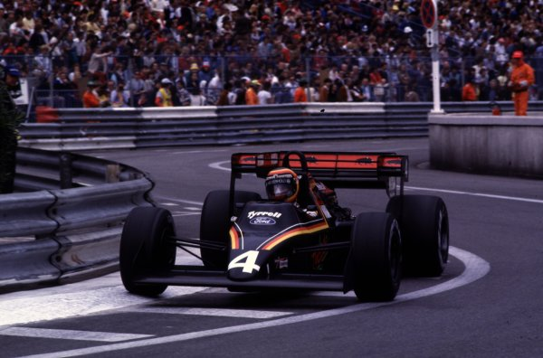 1984 Monaco Grand Prix, Monte Carlo.31/5-3/6 1984.Stefan Bellof (Tyrrell 012 Ford) finished in 3rd position. He would lose his position at the end of the season, after the Tyrrell team was disqualified from the World Championship due to fuel irregularities.World Copyright - LAT Photographic
