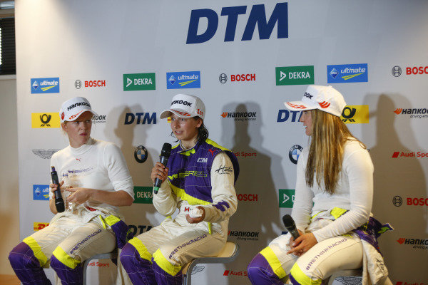 Alice Powell (GBR), Megan Gilkes (CAN) and Sabre Cook (USA) in the press conference