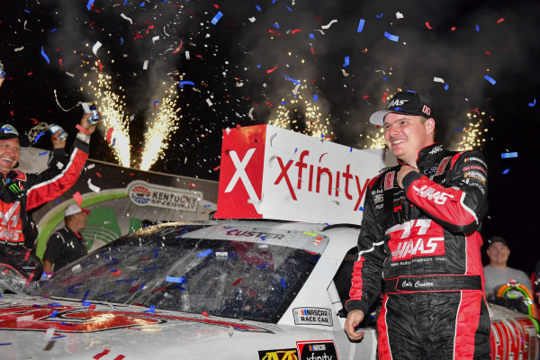 #00: Cole Custer, Stewart-Haas Racing, Ford Mustang Haas Automation celebrates in victory lane after winning