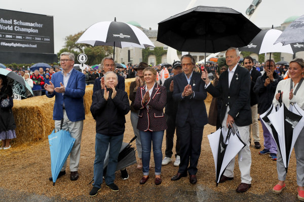Ross Brawn, Luca Cordero di Montezemolo, Jean Todt, Corinna Schumacher, Lord March and Sabine Khem at the Michael Schumacher Celebration