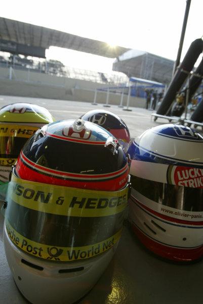 2002 Brazilian Grand Prix - Friday PracticeInterlagoes, Sao Paulo. 29th March 2002The Honda drivers helmets. Sato, Panis, Fisichella and Villeneuve.World Copyright - LAT Photographicref: Digital File Only