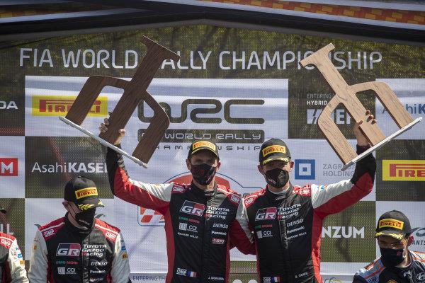 Sébastien Ogier (FRA), Toyota Gazoo Racing WRT, Toyota Yaris WRC 2021, celebrates on the podium