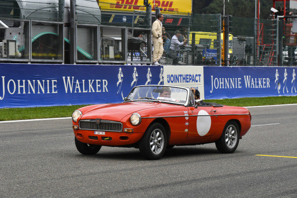 Lance Stroll, Racing Point, in an MG on the drivers' parade