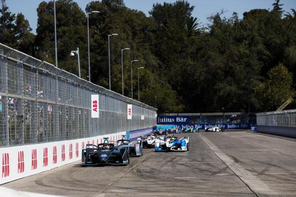 Stoffel Vandoorne (BEL), HWA Racelab, VFE-05 leads Edoardo Mortara (CHE) Venturi Formula E, Venturi VFE05 and Alexander Sims (GBR) BMW I Andretti Motorsports, BMW iFE.18