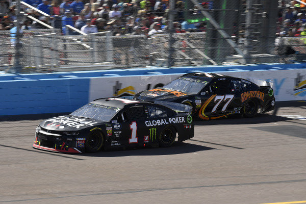 #1: Kurt Busch, Chip Ganassi Racing, Chevrolet Camaro Global Poker and #77: Quin Houff, Spire Motorsports, Chevrolet Camaro Rim Ryderz