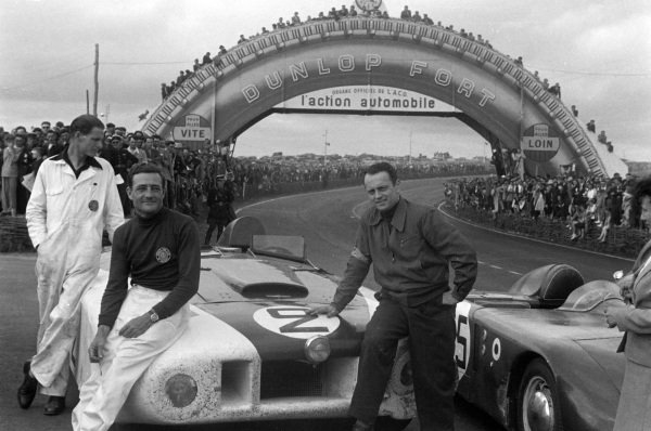 "Briggs Cunningham / Phil Walthers, B.S. Cunningham, Cadillac Spider ""Le Monstre"", after the race."