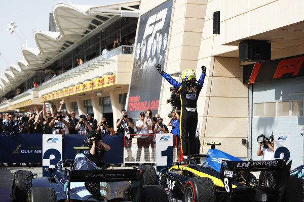 Luca Ghiotto (ITA, UNI VIRTUOSI), celebrates in Parc Ferme after winning the race