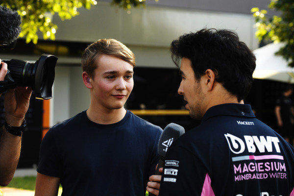 Billy Monger, Channel 4 TV Pundit, speaks to Sergio Perez, Racing Point