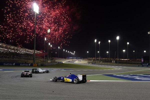 Fireworks at Formula One World Championship, Rd4, Bahrain Grand Prix Race, Bahrain International Circuit, Sakhir, Bahrain, Sunday 19  April 2015. BEST IMAGE