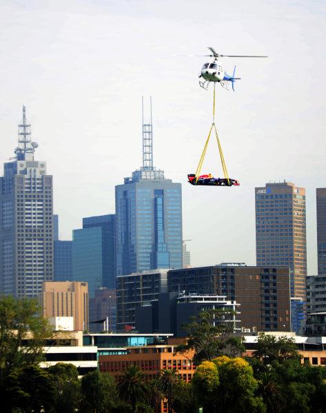 Red Bull Racing F1 car arrives by helicopter. 2014 Formula 1 Rolex Australian Grand Prix Media Launch, Carousel, Albert Park, Melbourne, Australia, 3 February 2014.