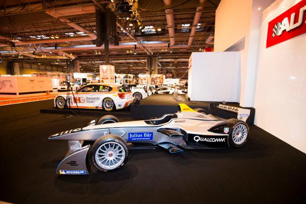 Autosport International Exhibition. National Exhibition Centre, Birmingham, UK. Saturday 10 January 2015. Formula E car on the Autosport stage. World Copyright: Malcolm Griffiths/LAT Photographic. ref: Digital Image F80P2533