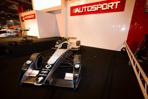 Autosport International Exhibition. National Exhibition Centre, Birmingham, UK. Thursday 8 January 2015. Formula E car on the Autosport stage. World Copyright: Malcolm Griffiths/LAT Photographic. ref: Digital Image F80P1992