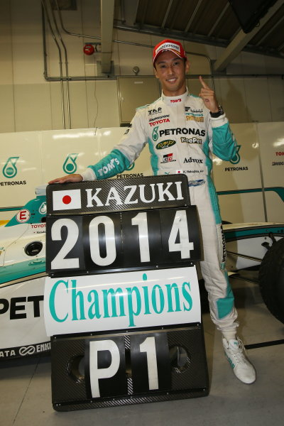 2014 Super Formula Series. Suzuka, Japan. 9th - 10th November 2014. Rd 7. 2014 Driver's Champion Kazuki Nakajima ( #37 TEAM TOM'S SF14 ) portrait World Copyright: Yasushi Ishihara / LAT Photographic. Ref:  2014_SF_Rd7_029.JPG