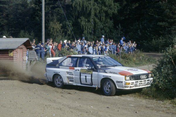 1983 World Rally Championship.1000 Lakes Rally, Finland. 26-28 August 1983.Hannu Mikkola/Arne Hertz (Audi Quattro A2), 1st position.World Copyright: LAT PhotographicRef: 35mm transparency 83RALLY23