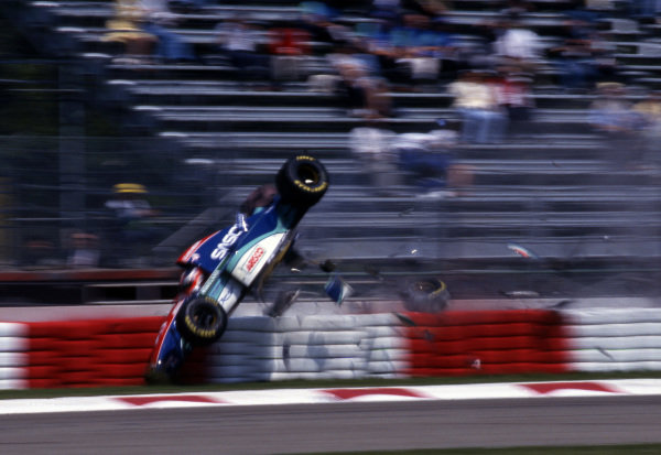 Rubens Barrichello (BRA), Jordan Hart 194, suffered a heavy crash during qualifying forcing him to withdraw from the race. Formula One World Championship, Rd3, San Marino Grand Prix, Practice,  Imola, Italy, 29 April 1994.