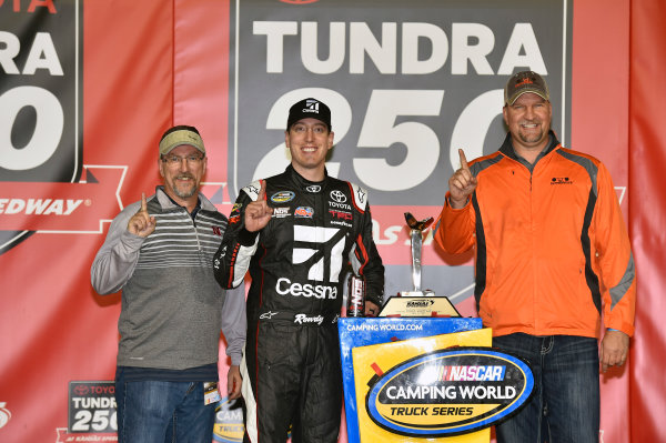 NASCAR Camping World Truck Series Toyota Tundra 250 Kansas Speedway, Kansas City, KS USA Friday 12 May 2017 Kyle Busch, Cessna Toyota Tundra celebrates his win in Victory Lane World Copyright: Nigel Kinrade LAT Images ref: Digital Image 17KAN1nk07236