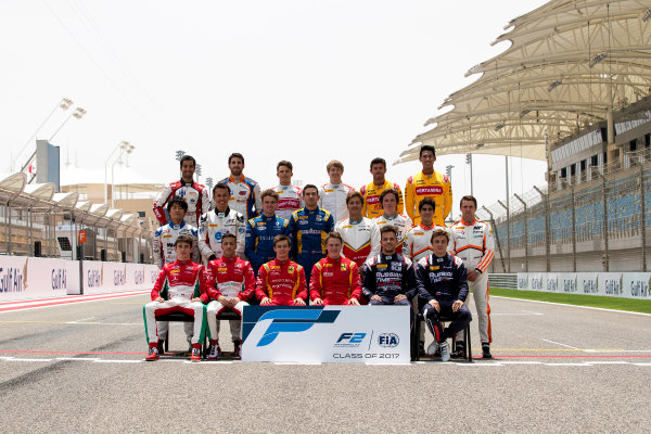 2017 FIA Formula 2 Round 1. Bahrain International Circuit, Sakhir, Bahrain.  Thursday 13 April 2017. Class photo on the grid. Photo: Zak Mauger/FIA Formula 2. ref: Digital Image _56I8882