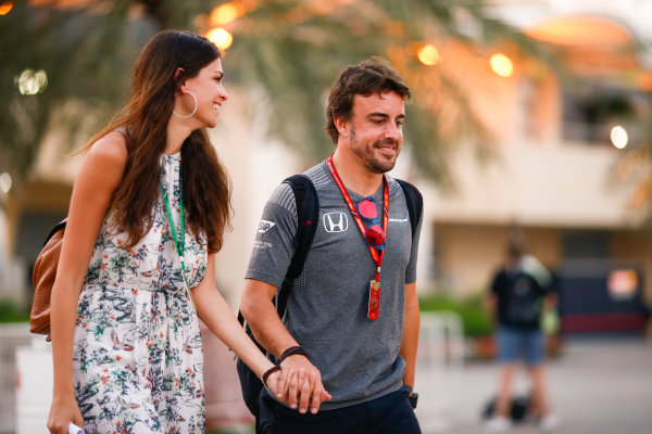 Bahrain International Circuit, Sakhir, Bahrain.  Thursday 13 April 2017. Fernando Alonso, McLaren, in the paddock with girlfriend Linda Morselli. World Copyright: Andy Hone/LAT Images ref: Digital Image _ONZ7277
