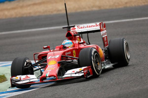 2014 F1 Pre Season Test 1 - Day 4 Circuito de Jerez, Jerez, Spain. Friday 31 January 2014. Fernando Alonso, Ferrari F14T. World Copyright: Andrew Ferraro/LAT Photographic. ref: Digital Image _79P7885.JPG