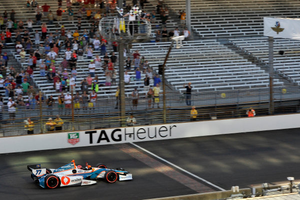 8-10 May, 2014, Indianapolis, Indiana, USA Simon Pagenaud crosses the finish line for the win under the checkered flag. ©2014 Scott R LePage  LAT Photo USA