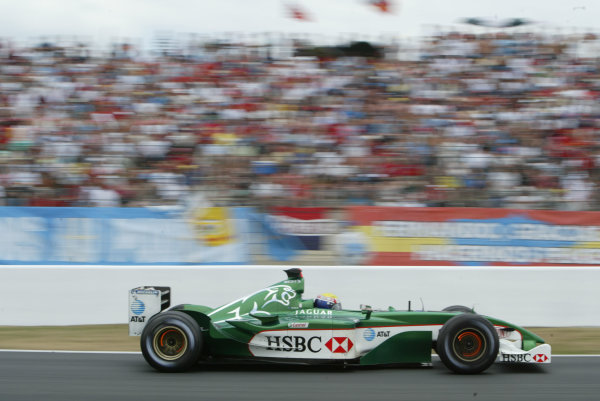 2003 French Grand Prix - Sunday RaceMagny-Cours, France.6th July 2003.Mark Webber, Jaguar R4, action.World Copyright LAT Photographic.Digital Image Only.