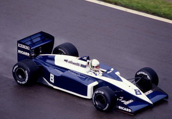 1987 Belgian Grand Prix. Spa-Francorchamps, Belgium. 15-17 May 1987. Andrea de Cesaris (Brabham BT56 BMW) 3rd position. Ref-87 BEL 22. World Copyright - LAT Photographic