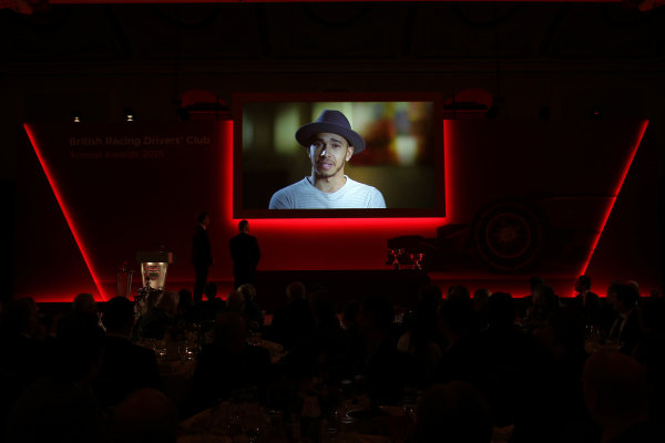 2015 British Racing Drivers Club Awards Grand Connaught Rooms, London Monday 7th December 2015 Lewis Hamilton on screen. World Copyright: Jakob Ebrey/LAT Photographic ref: Digital Image Hamilton-02