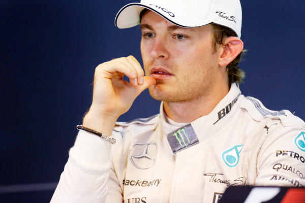 Spa-Francorchamps, Spa, Belgium. Sunday 23 August 2015. Nico Rosberg, Mercedes AMG, 2nd Position, in the Press Conference. World Copyright: Alastair Staley/LAT Photographic ref: Digital Image _R6T6651