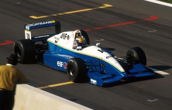 Race winner Olivier Panis (FRA) DAMS Reynard 93D Cosworth AC crosses the finish line. International Formula 3000 Championship, Spa-Francorchamps, Belgium, 28 August 1993.