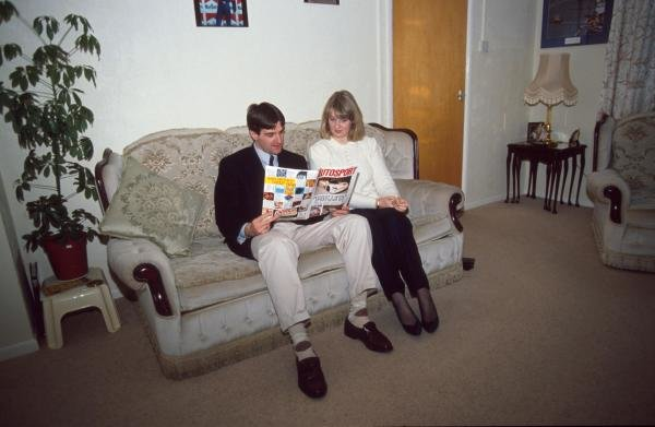 Martin Donnelly at home with his wife.Formula One Drivers At Home.