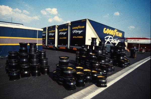 F1 tyre supplier, Goodyear, on display in the paddock.