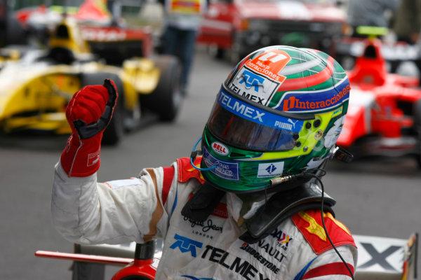 Spa - Francorchamps, Spa, Belgium. 29th August.Sunday Race.Sergio Perez (MEX, Barwa Addax Team) celebrates his victory. Photo: Charles Coates/GP2 Media Service.Ref: __26Y5715 jpg