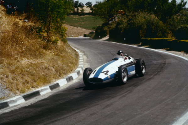 Pescara, Italy. 16-18 August 1957. Masten Gregory, Maserati 250F, 4th position. Ref: 57PES11. World Copyright - LAT Photographic