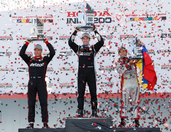 29-31 July, 2016, Lexington, Ohio USA , Will Power, Simon Pagenaud, Carlos Munoz, podium ?2016, Michael L. Levitt LAT Photo USA