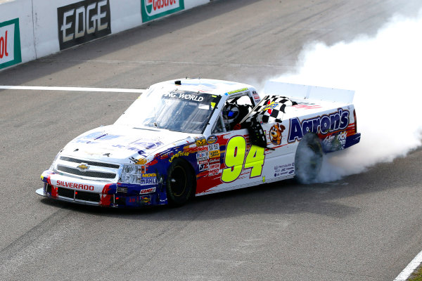 30 August - 1 September 2013, Bowmanville, Ontario Canada Chase Elliott celebrates his win with a burnout © 2013, Russell LaBounty LAT Photo USA