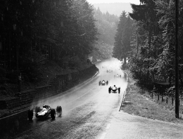 1964 Solitude Grand Prix. Solitude, Germany. 18th - 19th July 1964. Jim Clark (Lotus 33 Climax) leads the field in the rain. He finished in 1st position, action. World Copyright:Lat Photographic. Ref: 25864.